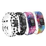 Fit-power cinturino di ricambio con fibbia in morbido silicone per braccialetto da fitness Garmin Vivofit 3 (senza tracker), Pack of 4-PatternD