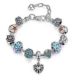 Presentski Verstellbares Armband mit Rosa Murano Charme Blumen Glasperlen Herz Love für Damen Geschenk
