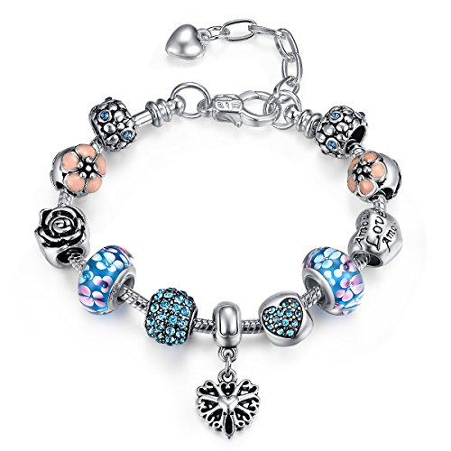 Presentski Ajustable Charm Pulsera con Azul Perla Cristal Murano Rosa Flor Corazón para Mujer con una Caja Regalo