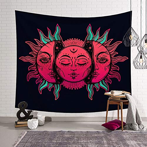 mmzki Sun Moon Psychedelic Hippie Tapisserie Celestial Indian Sun Hippy Polyster Tapisserie Wandbehang Tagesdecke Strandtuch ~ 1 200x150cm