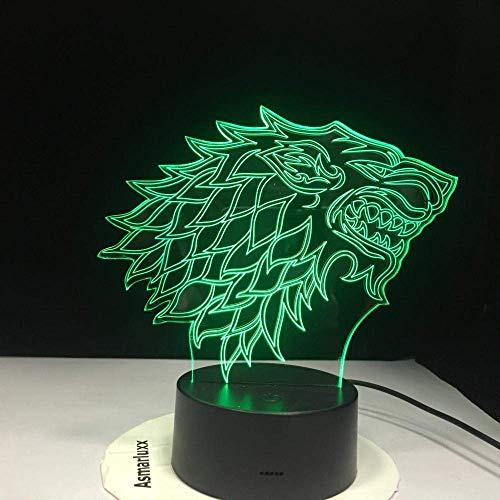 3D-Folie geführt durch das Nachtlicht des Game of Thrones House Stark Wolfe Ein Lied von Eis und Feuer 7 Farben ändern Tischlampe Schlafzimmer Dekoration Kind