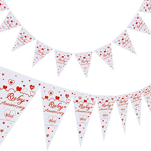 40th Anniversary Banner 40th Anniversary Triangle Bunting Banner Heart...