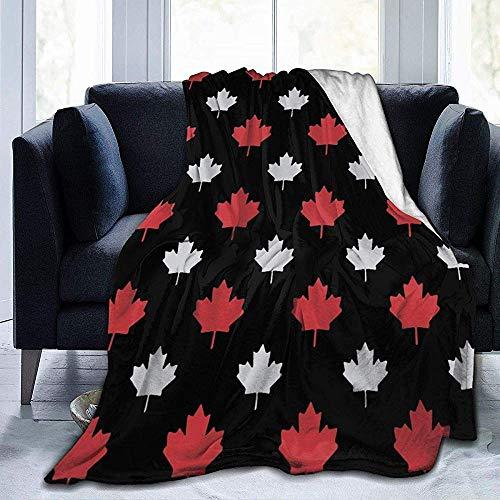 299 Canada hojas de arce Sherpa manta cómoda de franela de forro polar de alta calidad, cómoda manta térmica duradera y cálida para sofá, 102 x 127 cm