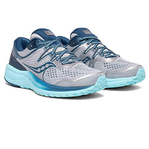 Saucony Women's Omni ISO 2 Running Shoe, Grey/Aqua, 9 M US