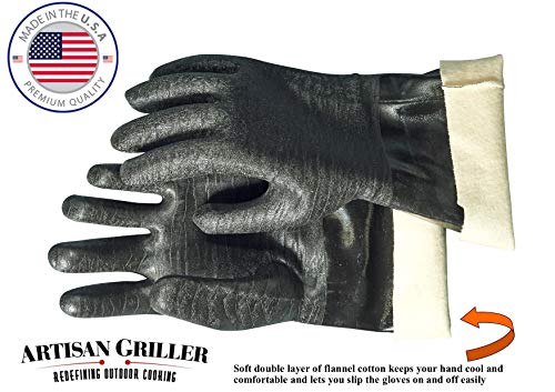 Artisan Griller BBQ Heat Resistant Insulated Smoker, Grill, Fryer, Oven, Cooking Gloves. Barbecue/Frying/Grilling – Waterproof, Oil Resistant -1 Pair (Size 10/XL - Fits Most