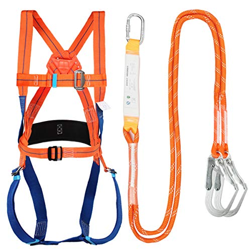 Safety Fall Protection Full Body 5 point Harness,Padded Back Support, Waist-Connect Buckle, Double Rope, Double Hook,for Roofing,Climbing,onstruction,Exterior Wall,Universal Size (big hook)