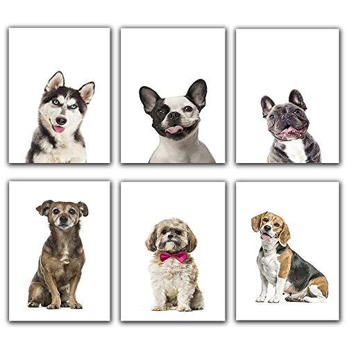 "Canvas Prints Happy Pupper Posters and Prints- French Bulldog,Husky ,Harrier Pet Dog Animal Set of 6 (Unframed 8""x 10"") Wall Art for Kids Boy Girl Bedroom Nursery Decor Art"