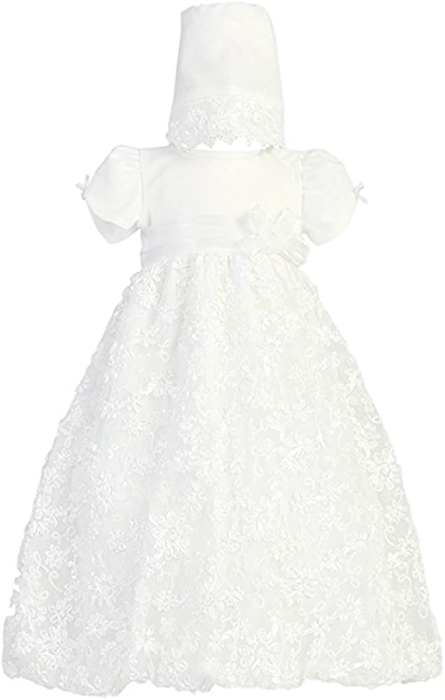 Baby Girl Long White Embroidered Satin Ribbon Tulle Christening