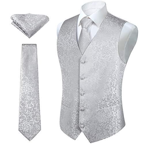 HISDERN Herren FLoral Hochzeit Weste Krawatte Einstecktuch Taschentuch Jacquard Weste Anzug Set