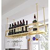 Techo Estante de Vino de Metal, Estante para Botellas de Vino Soportes para copas Sostenedor del vidrio de vino cubilete colgando bar escritorio clubpara gabinetes/armarios - 60/80 / 100/120 / 140cm