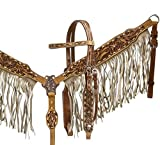 Showman Double Stitched Leather Headstall & Breast Collar Set w/Tan Suede Fringe...