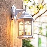 Al aire libre Luces de la pared, Blanco Castillo Exterior Faroles de pared europeo Villa Lámpara de jardín E27 Impermeable Lámpara de pared Parque Patio Noche Montado en la pared Iluminación,30*17cm