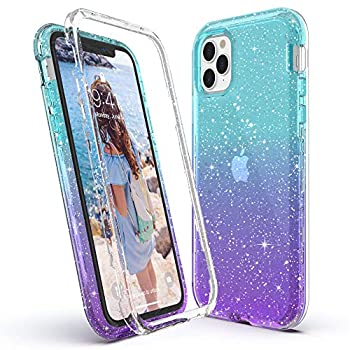 ULAK Compatible with iPhone 11 Pro Max Case Clear Gradient Glitter Heavy Duty Shockproof Rugged Transparent Soft TPU Protective Bling Phone Cover for iPhone Pro Max 6.5 inch Blue+Purple