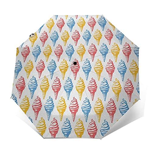 Paraguas Plegable Automático Impermeable Conos De Crema Cincuenta Tiempo De Color, Paraguas De Viaje Compacto A Prueba De Viento, Folding Umbrella, Dosel Reforzado, Mango Ergonómico