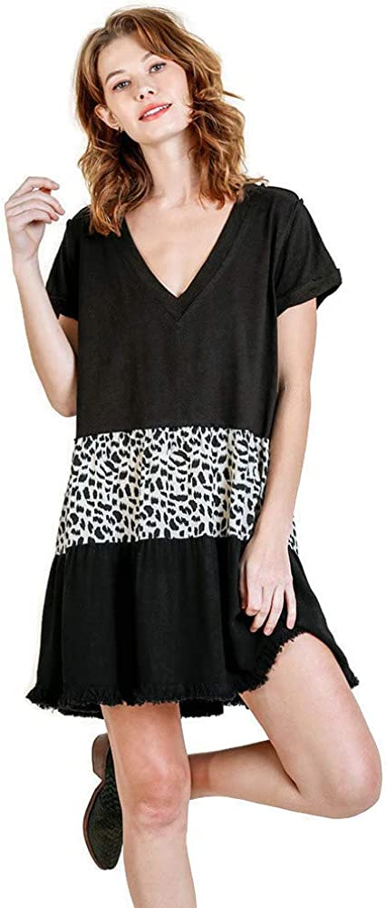 Umgee Women's Animal Ruffle Dress sale Selling Mini Tiered