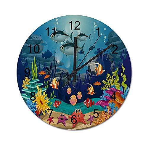Reloj de Pared ,Océano Azul Peces Tropicales Coral, Relojes de Pared Digitales de Madera Que no Hacen tictac, Funcionan con Pilas, decoración Sala de Estar, Dormitorio, Aula, Oficina (10 Pulgadas).