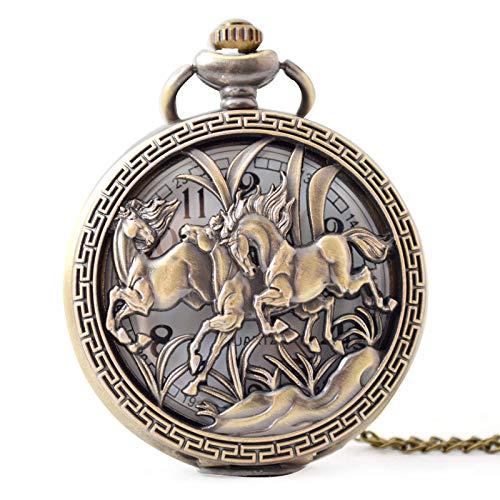 WDDYYBF Vintage Pocket Horloge Mannen En Vrouwen Ketting Hanger Geschenk, Drie Paarden uitgeholde Bronzen Klassieke Steampunk Sleutelhanger Trui Tailleketting Mode Sieraden Quartz Pocket Horloge