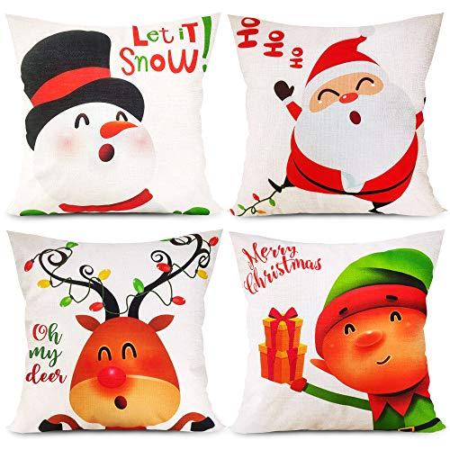 Funnlot Cute Christmas Pillow Covers 18x18 Set of 4 Christmas Pillow Covers Colorful Christmas Pillow Covers Cartoon Cotton Linen Snowman Reindeer Santa Claus Elf Pillow Case for Sofa