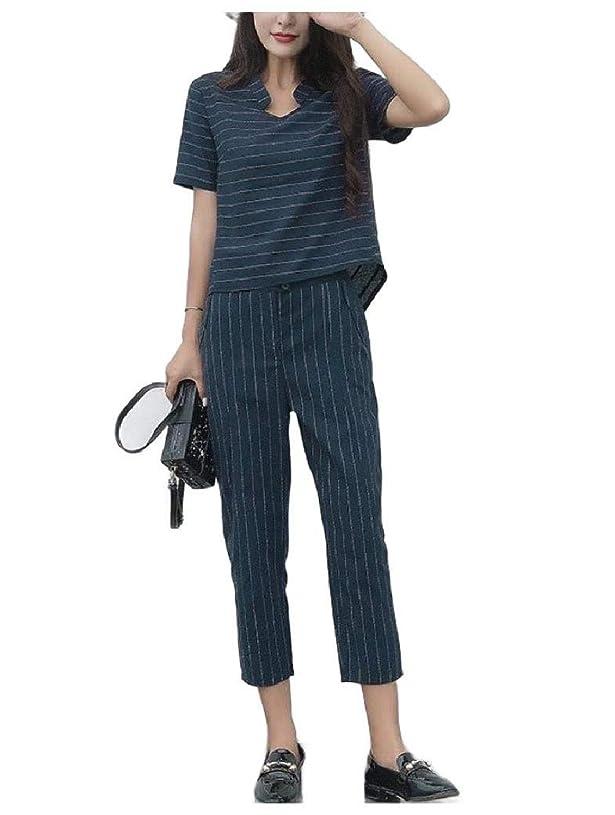 お勧め単調な廃止女性Tenthsパンツトップシャツ2ピースラウンジVネックスウィットセット