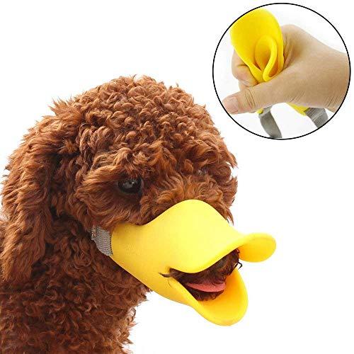 Feketden Mundschutz für Hunde, Entenschnabel-Mundschutz für Hund, Mundschutz, Bissschutz/Maulkorb, bissfest, für kleine Hunde, Gelb