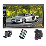 Podofo Double Din Car Stereo Audio Radio, 7' Touchscreen Digital LCD Monitor, Bluetooth Handsfree, Mirror Link, MP3/USB/SD/FM, with Backup Camera & Wireless Remote Control & Steering Wheel Control