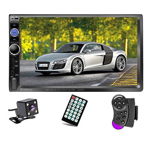 "Podofo Double Din Car Stereo Audio Radio, 7"" Touchscreen Digital LCD Monitor, Bluetooth Handsfree, Mirror Link, MP3/USB/SD/FM, with Backup Camera & Wireless Remote Control & Steering Wheel Control"