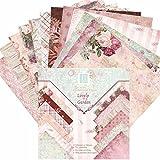 24 Hojas de Paper Pack Scrapbooking Estampado Flores Románticas Vintage para DIY Paper Decorativa Manualidades, 15x15cm