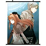 Poster Spice and Wolf Anime Wall Scroll Craft Lawrence & Horo(24''32'') support Customized