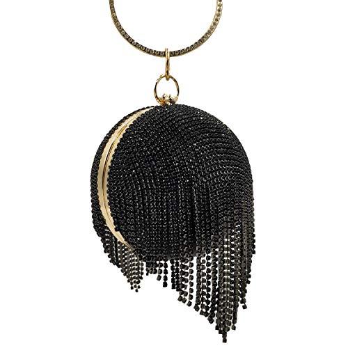 Women Round Ball Crysal Clutch Purses Wedding Handbag Dazzling Full Rhinestone Tassles Ring Handle Evening Bag (MIL1248 Black)