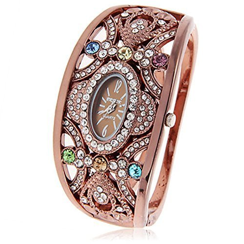 ParaCity Damen-Armbanduhr mit ovalem Zifferblatt, Strass-Armreif-Design, Quarz-Armbanduhr (Brsok Braun)