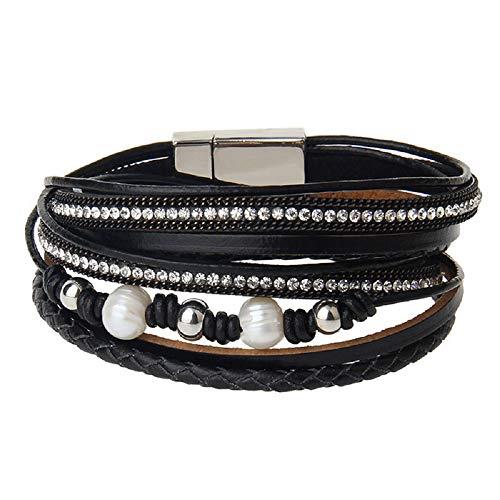 MJARTORIA Damen Armband schwarz Leder Armkette Perlen Strass Deko Wickelarmband Lederarmband Magnetverschluss Modeschmuck Weihnachten Geschenk