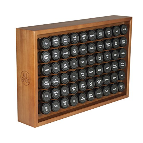 AllSpice Wooden Spice Rack, Includes 60 4oz Jars- Cherry Stain