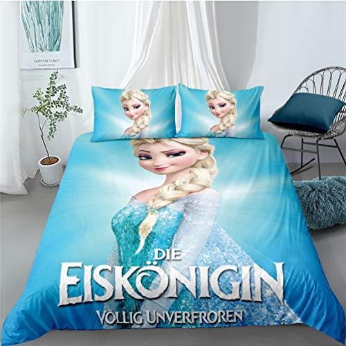 Sjj-RE Frozen 2 - Juego de funda de edredón de microfibra Frozen con funda de almohada y funda de almohada para niña, color rosa