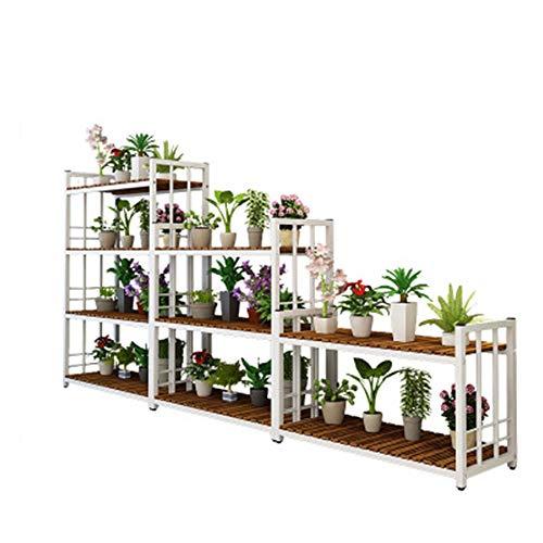 Etagère à Fleurs Stand De Fleurs Plante Etagère De Jardin échelle Fleur étagère En Bois étagère De Rangement En Bois Pots Fleur Présentoirs,White-140 * 35 * 100