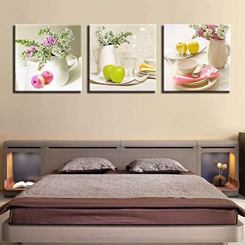 jjshily Dipinti su Tela per Cucina Moda Popolare 3 Pannelli Frutta Muro Fiori Moderni Quadri Decorativi di Arte Modulare per Soggiorno, 40X40