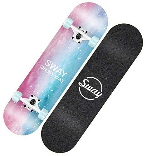 Axdwfd Longboard Niñas Skateboard, Adultos Principiantes Adolescentes Doble Alas Cepille Street Scooter Cuatro niños 79x20x10CM (Color : C)
