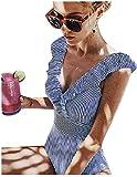 Yuson Girl Bikini Intero Sexy Donna,V Neck Swimsuit Bikini Push Up,Costume da Bagno a Righe Floreali,Pizzo Cutout Costume da Bagno Donna Beachwear Mare Spiaggia