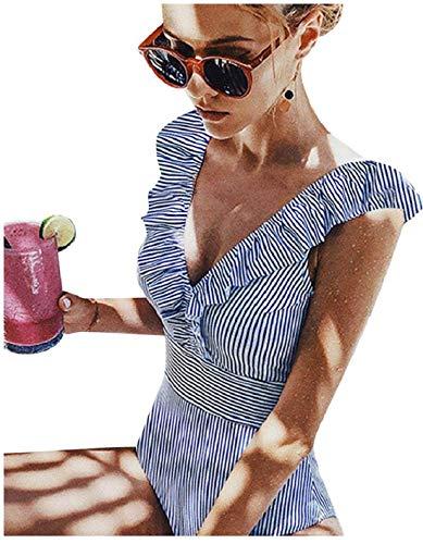 Yuson Girl Sexy Body Rayure Maillot de Bain Femme 1 Pieces Volant Amincissant Dos Nu Trikini Col V Cut Out Trikini Bikini Rembourré Monokini Push Up Taille Haute Flounce Ventre Plat,Bleu,S