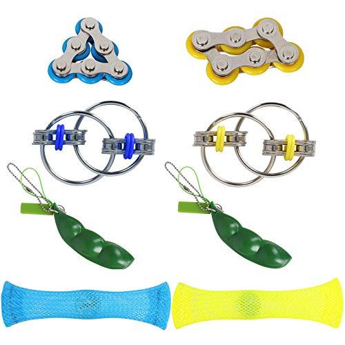 Hotgod Fidget-Spielzeug-Set/sechs Rollenkette, Schlüssel-Kette, Netz- und Marmorspielzeug, Erbskapsel, Fidget-Bohnen-Spielzeug, Stressabbau, Angstlinderung, sensorisches Fidget-Handspielzeug (8 Stück)