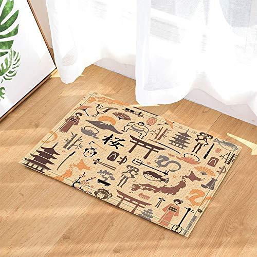 123456789 Alfombra de baño antideslizante con símbolos tradicionales de Japón para vacaciones, turismo, para el suelo, entrada interior, alfombrilla de baño para niños, 60 x 40 cm, accesorios de baño