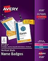 Avery Vertical Name Badges Durable Plastic Holders Lanyards 6 x 4-1/4 25 Badges (8520) [並行輸入品]