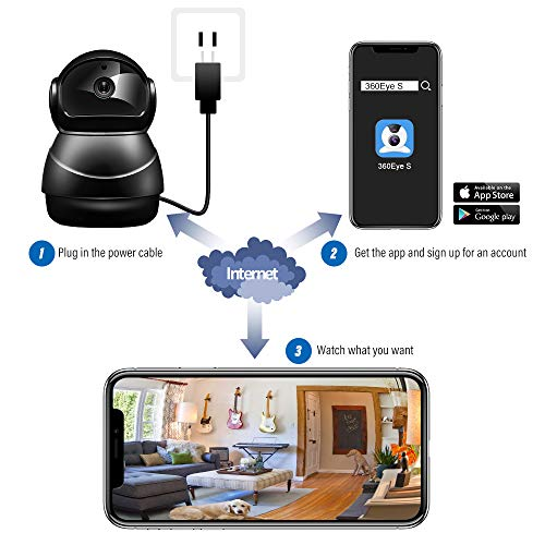 Veroyi IP Camera Full HD 1080P WiFi Home Surveillance Security Camera with Pan/Tilt/Zoom Function, 2 Way Audio Night Vision Camera