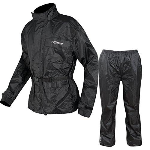 A-Pro Motorrad Regenkombi Regenhose Regenjacke Wasserdicht Regenanzug Schwarz XL