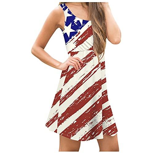 YANFANG Vestido Corto Sexy,Vestido Casual Sin Mangas Sexy con Estampado De Bandera Americana para Mujer,Vestido Noche Corto,Vestido Retro Manga Larga Todo FóSforo,2-Rojo,S