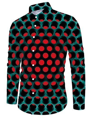 Fanient Hemd für Männer Herren Slim Fit Langarm Blumenshirt 3D Gedruckt Loch Casual Button Down Hemden XXL
