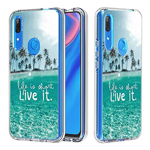 FAWUMAN Coque Huawei Y9 Prime (2019), Silicone Bumper, Transparent PC + TPU Hybride Boîtier de Protection avec Carte de Mode (Live it)