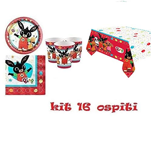 ARCOBALENOPARTY KI FESTA BING 16 OSPITI (1 tovaglia ,16 piatti,16 tovaglioli,16 bicchieri