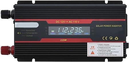 Romacci Inversor de energia solar inteligente para carro, conversor de onda sinusoidal modificado com display LCD