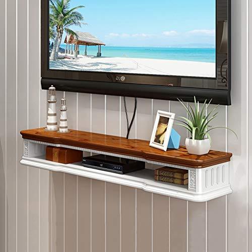 Wandmontage TV Plank Set Top Box Router TV Afstandsbediening Decoratie Goederen Foto Speelgoed Opslag Plank Wandplank Drijvende Plank TV Console, 100CM, Bruin Wit