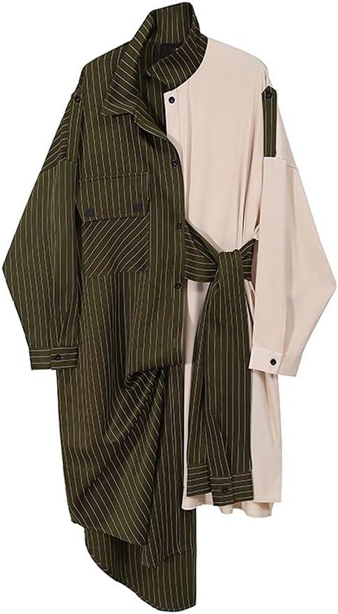 STRAW Women Green Striped Split Big Long depot Large discharge sale Sle Size LAPE New Dress